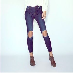 Free People Indigo Busted Knee Skinny Jean